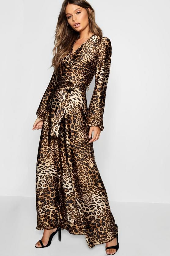 Leopard Print Satin Maxi Dress | boohoo | Fashion clothes women .