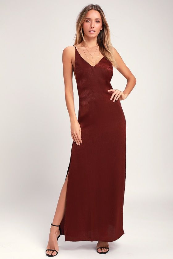 NANIA BURGUNDY BACKLESS SATIN MAXI DRESS | Dresses, Fashion .