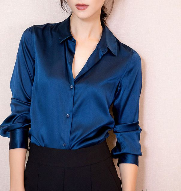 S-XXXL Fashion women Dark blue satin silk blouse ladies casual .