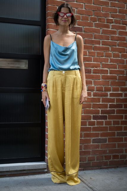 15 Stylish Outfit Ideas With Satin Pants - Styleohol