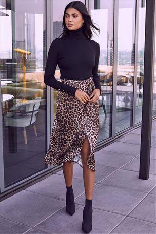 Lipsy Satin Leopard Wrap Midi Skirt | Leopard print skirt outfit .