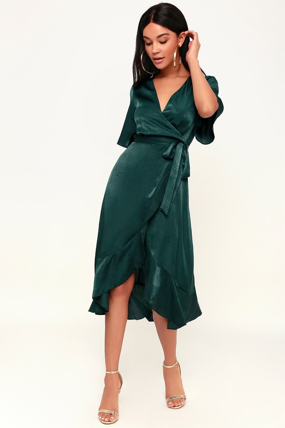 Wrapped Up In Love Dark Green Satin Faux-Wrap Midi Dress | Classy .