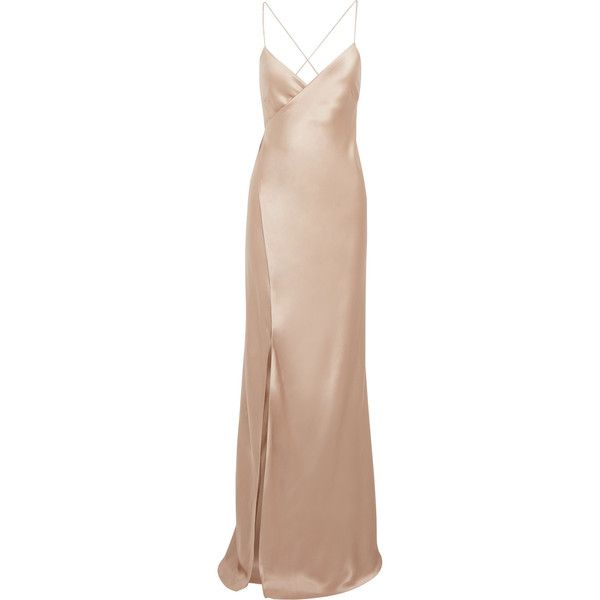 Michelle Mason Silk-satin wrap gown ($1,330) ❤ liked on Polyvore .
