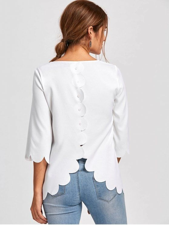 Up to 80% OFF! Button Detail Scalloped Edge Blouse. #Zaful #Tops .