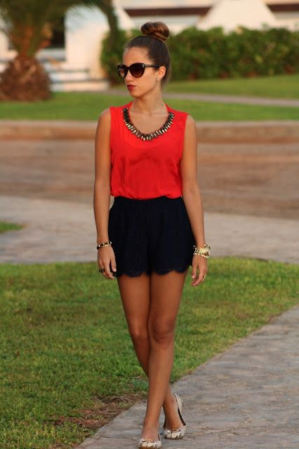 scalloped shorts + red blouse | Fashion, Red blouses, Summer outfi