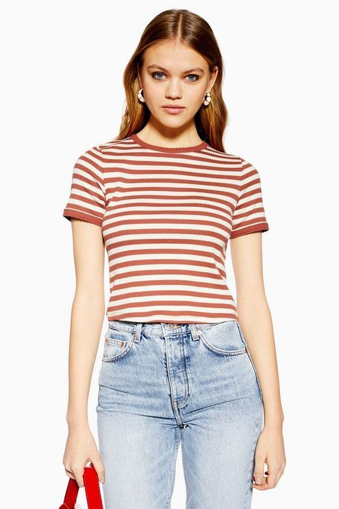 Short Sleeve Stripe Scallop T-Shirt | T shirt image, Scalloped .