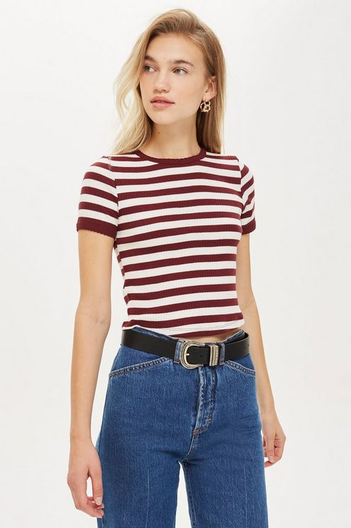 Short Sleeve Stripe Scallop T-Shirt | Casual skirt outfits .