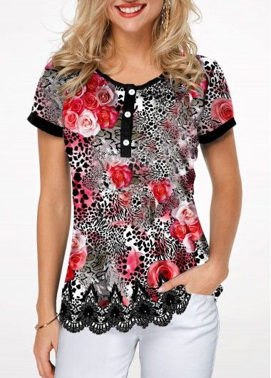 Women'S Leopard Printed Casual T Shirt Multicolor Scalloped Hem .