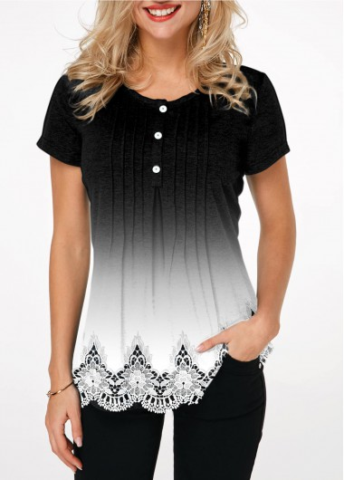 Gradient Crinkle Chest Button Detail Printed T Shirt | modlily.com .