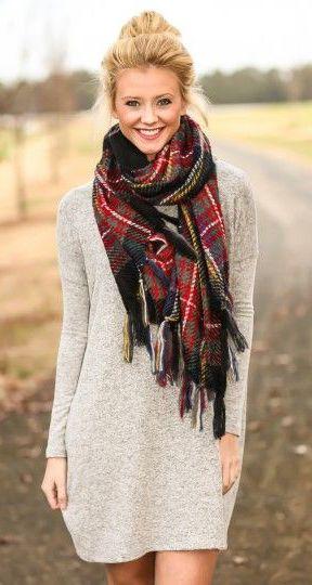 sweater dress + plaid blanket scarf. | Fashion... | Fashion .