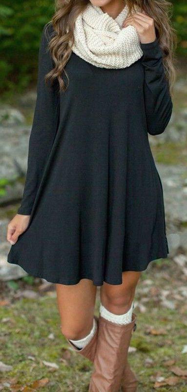 fall #fashion / dark gray dress + white scarf | Clothes, Casual .
