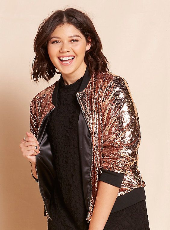 Sequin Bomber Jacket, ROSE GOLD | Sparkly jackets, Sequin bomber .