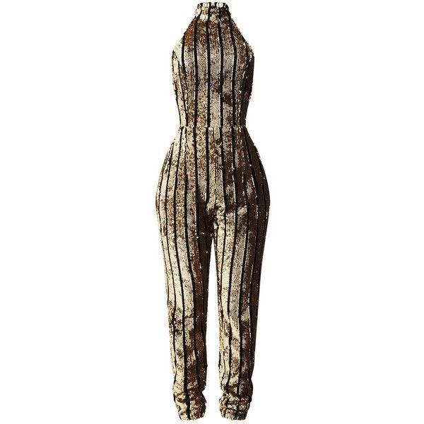 Shape Gold Sequin Halterneck Jumpsuit ($99) ❤ liked on Polyvore .