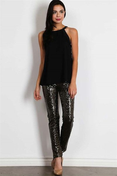 Center of Attention Sequin Pants Black | Holiday outfits women .