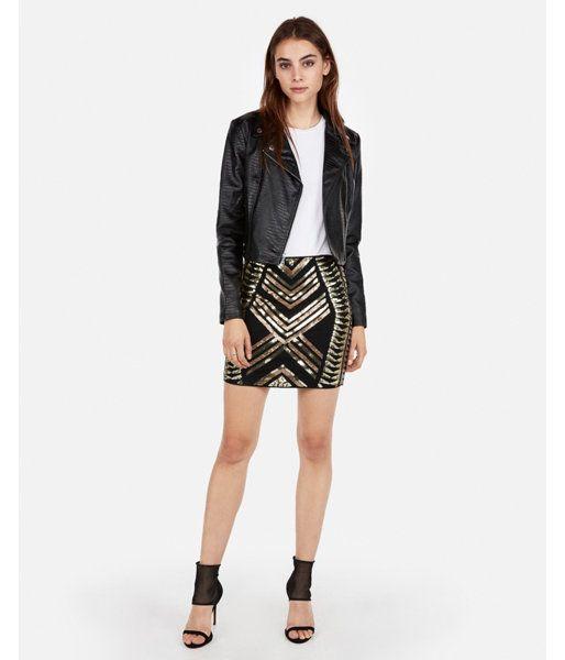 Petite High Waisted Sequin Mini Skirt Black Women's XXS Petite .