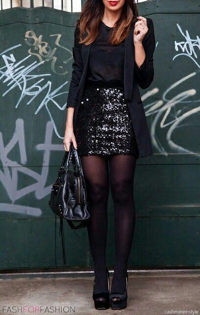 Women's Black Blazer, Black Silk Tank, Black Sequin Mini Skirt .