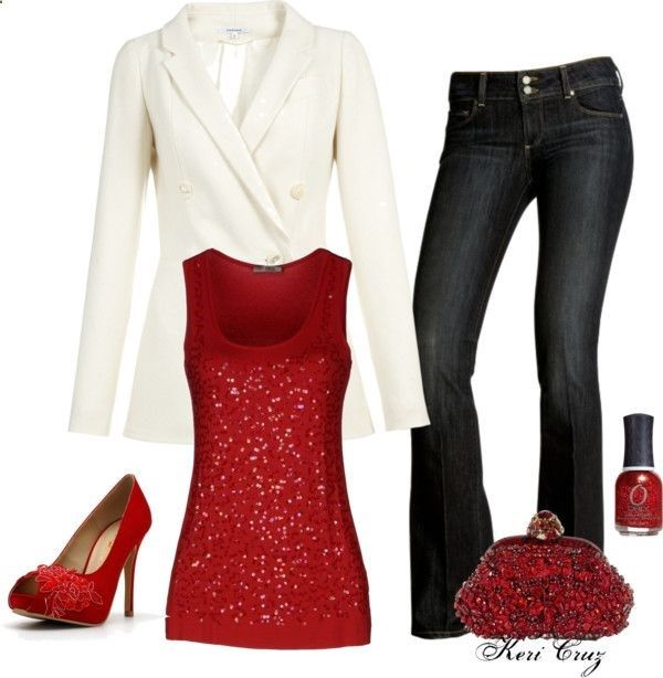 Holiday Party Style Outfit - White Jacket - Red Sequin tank top .