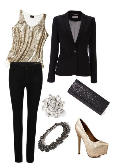 Holiday Outfit #1, gold sparkly tank top, black blazer, sparkly .