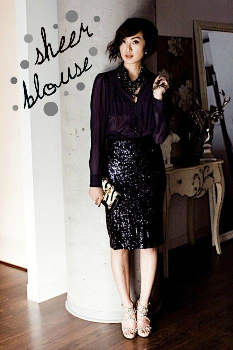 black sequin pencil skirt outfit ideas | Black sequin skirt .