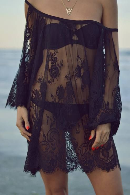 Rise And Shine Black Lace Beach Cover-up Outfit Idea | Lace .
