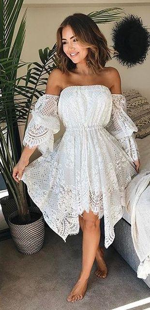 SHONA JOY Lace Off The Shoulder Mini Dress -Ivory @PIAMUEHLENBECK .