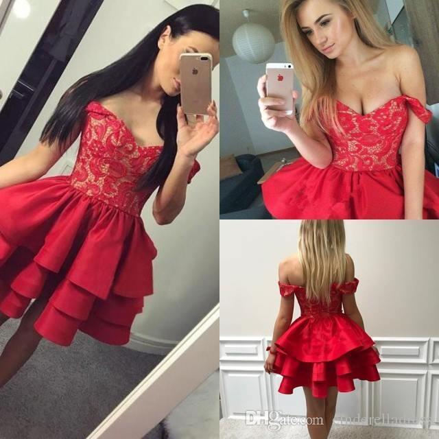 2018 Sexy Red Short Homecoming Dresses Off The Shoulder Layers .