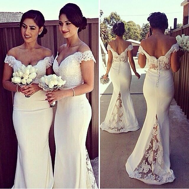 Sexy Off-shoulder Mermaid Bridesmaid Dress With Lace Appliques .