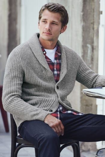 Mens Next Grey Shawl Cardigan - Grey | Mens cardigan outfit .