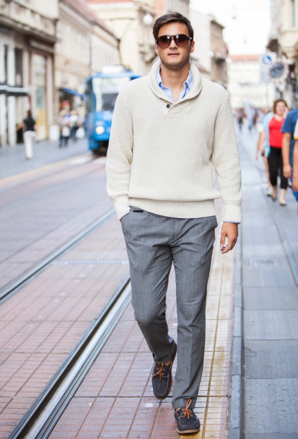 23 Men Outfits With Shawl Collar Sweaters And Cardigans - Styleohol