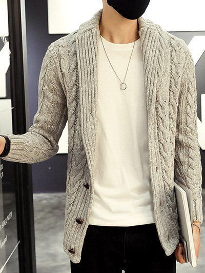 Clothes Hipster Cardigans - Shawl Collar Cable Knitted Cardigan .