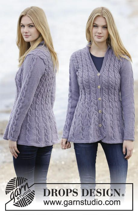 Hand knitted ladies womens cardigan with cables and shawl collar .