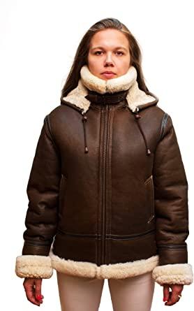 Women Genuine Shearling B-3 Bomber Jacket Winter Sheepskin Moto .