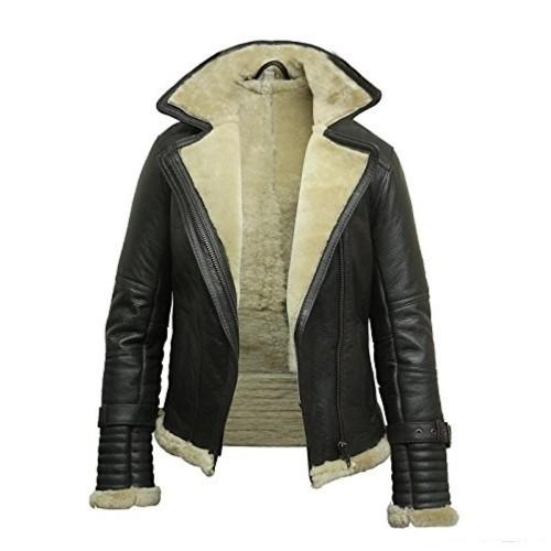 Women's Aviator Sheepskin Shearling Bomber Fur Jacket .