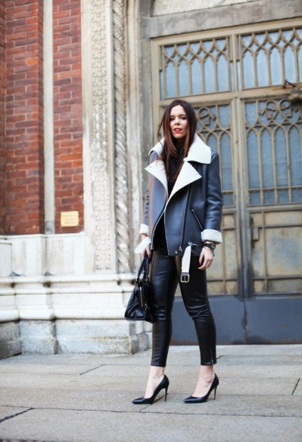 25 Cool Shearling Coat Outfits For Fall And Winter - Styleohol