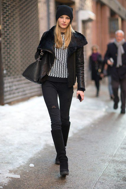 Classic Black Outfit Idea with Shearling Jacket | Styles Week