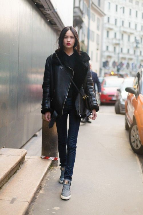 black shearling jacket | Black shearling jacket, Style, Fashi