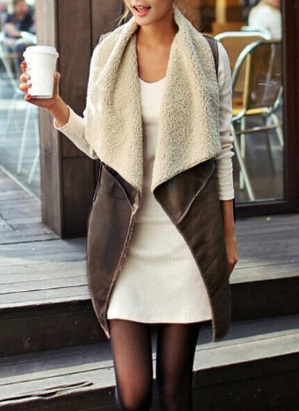 Suede Faux Fur Lapel Fleece Long Waistcoat | Fashion, Leather .