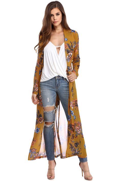 Mustard Printed Chiffon Duster | WindsorCloud | Kimono cardigan .