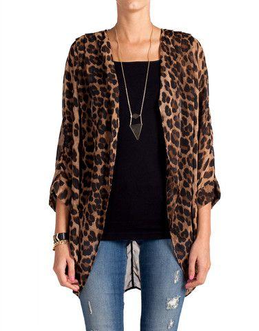 Semi Sheer Leopard Cardigan | Fashion, Leopard cardigan, Cloth