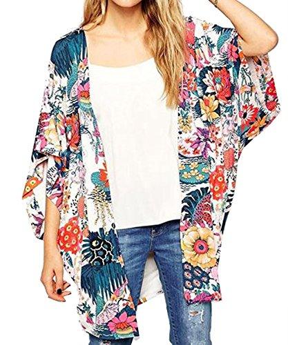 Relipop Women's Sheer Chiffon Blouse Loose Tops Kimono Floral .