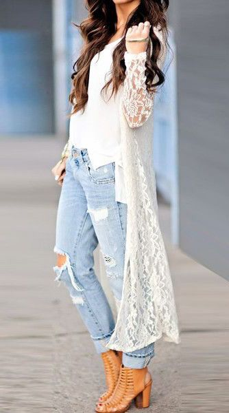White Lace Cardigan - Semi-Sheer All Over | Fashion, Clothes, Sty
