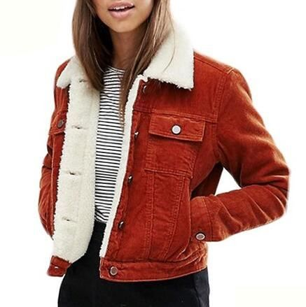 Brown corduroy jacket for women sherpa lined jacket coat - $65.99 .