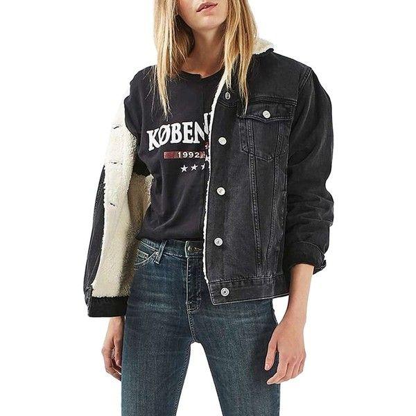Women's Topshop Moto Borg Lined Denim Jacket ($125) ❤ liked on .