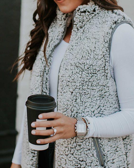 Fuzzy Faux Fur Winter Outerwear Sherpa Fleece Vest | Vest outfits .