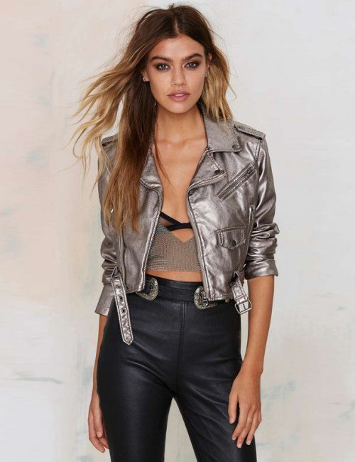 Women's Silver Punk Style Cropped Jacket in 2019 | Faux leather .