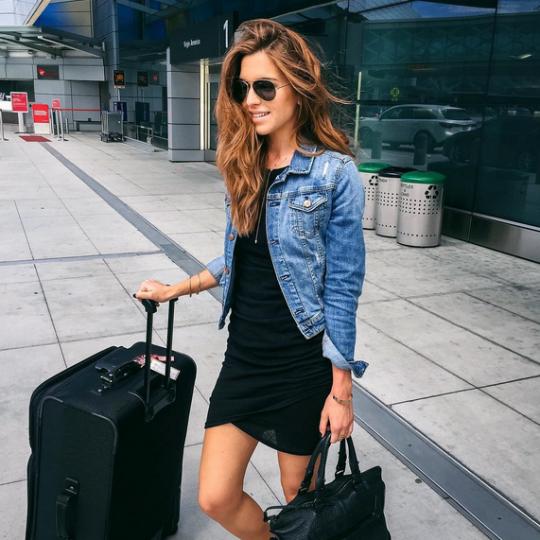 MINIMAL + CLASSIC black dress, denim jacket- can combine with tan .
