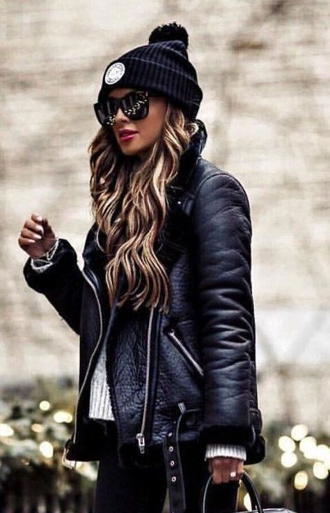 New black faux leather shearling warm aviator women coat winter .