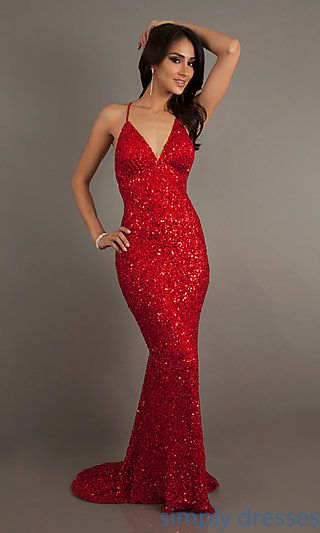 Open Back Dress by Scala with V-Neckline | Red glitter dress, Red .