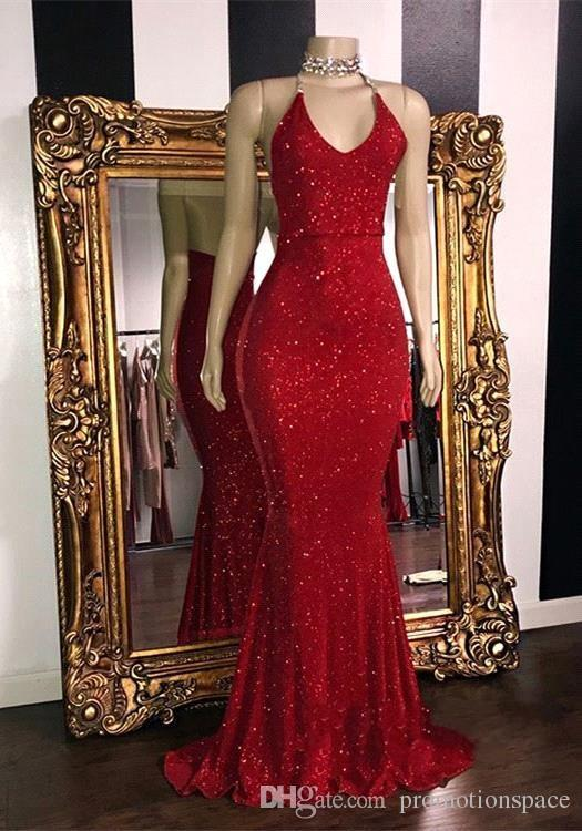 Sparkly Red Sequins Prom Dresses 2019 Halter Mermaid Long Prom .