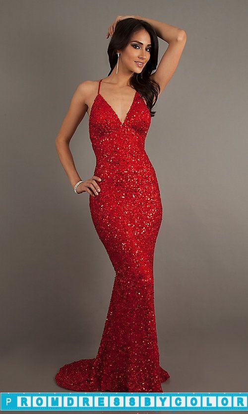 $193 Red Prom Dresses - Long V-Neck Sequin Dress with Open Back by .